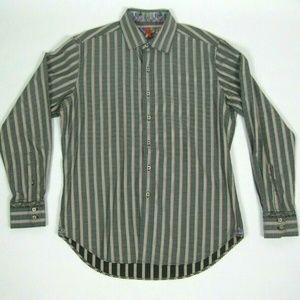 ROBERT GRAHAM Striped Flip Cuff Casual Shirt M